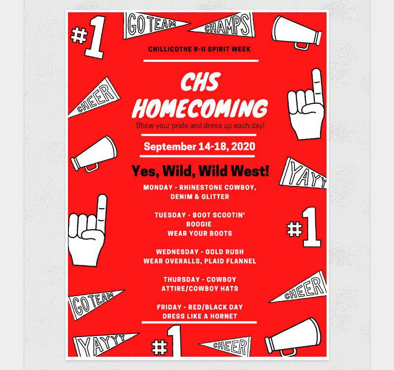 Spirit Week at K-5 to Celebrate CHS Homecoming!