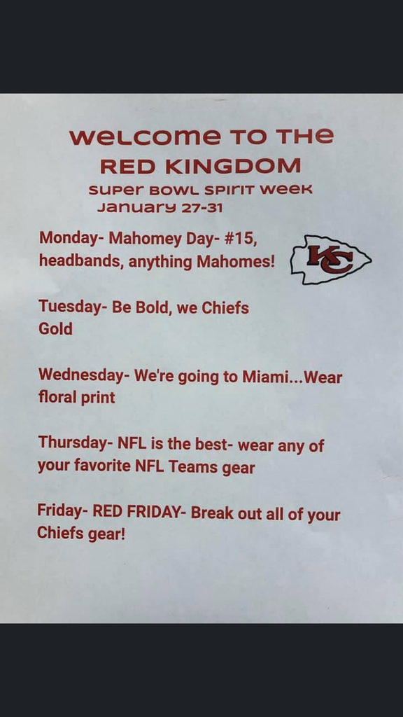 CMS super bowl spirit week days!