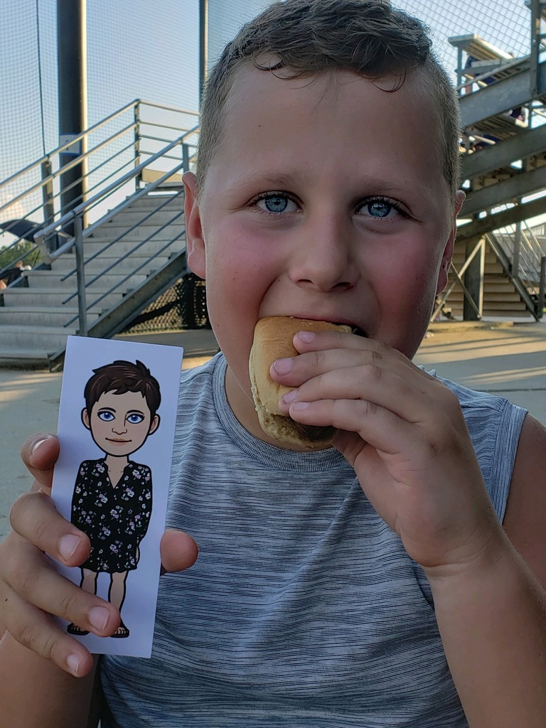 Flat Mrs. Rucker eating hotdog with Cooper