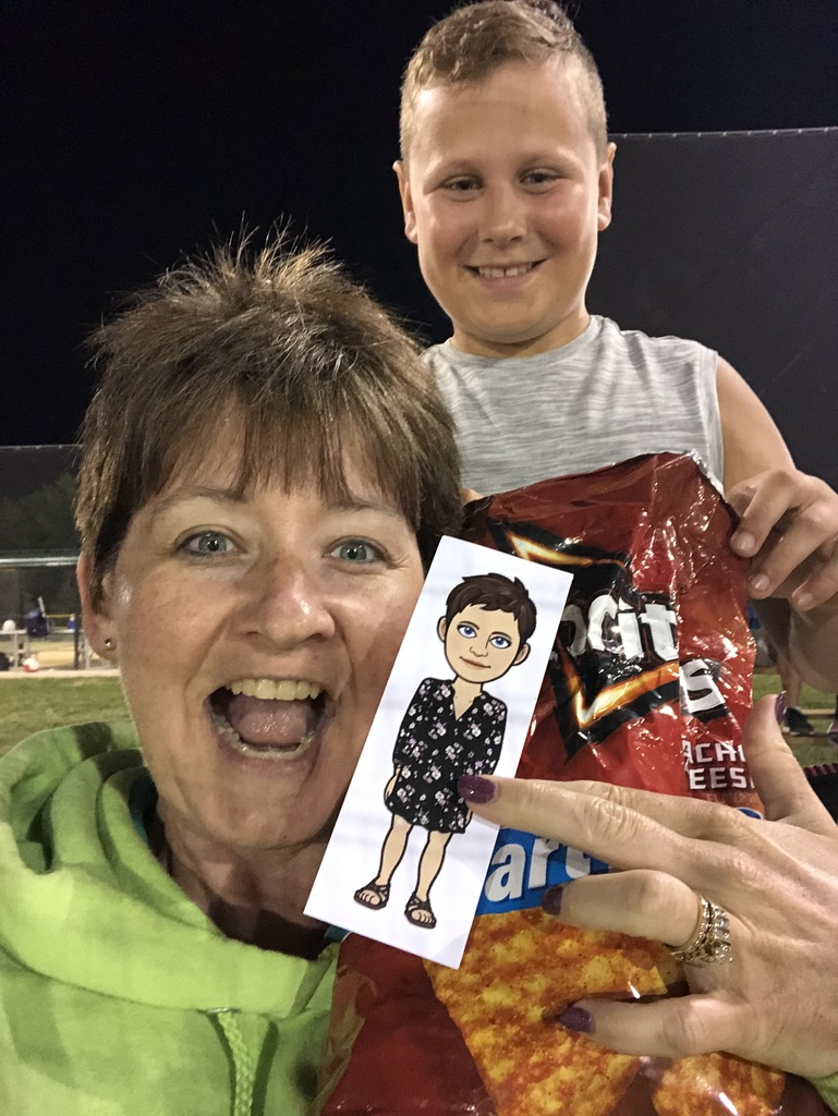 Flat Mrs. Rucker eating Doritos with Cooper